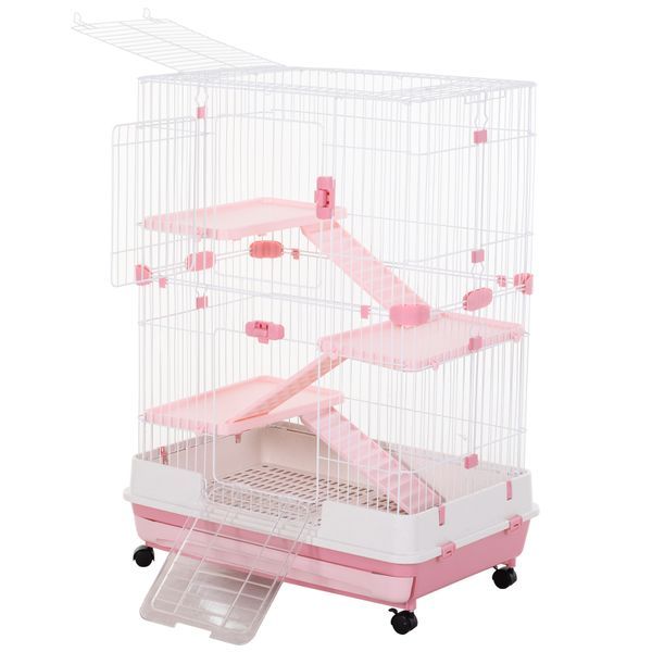 """PawHut 32""""L 4-level Rabbit Cage Indoor Small Animal Hutch with Wheels Pink   Aosom"""