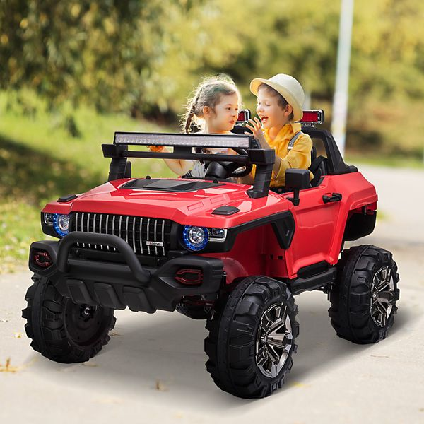 Aosom 12V Kids Electric 2-Seater Ride On Police Car SUV Truck Toy with Parental Remote Control Music and Multi-Media Center Red | Aosom