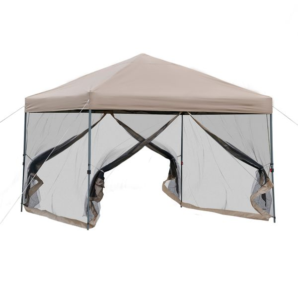 Outsunny 10' x 10' Outdoor Pop-Up Party Tent Canopy with Mesh Sidewalls, 3-Level Adjustable Height, Roller Bag, Khaki Bag   Aosom