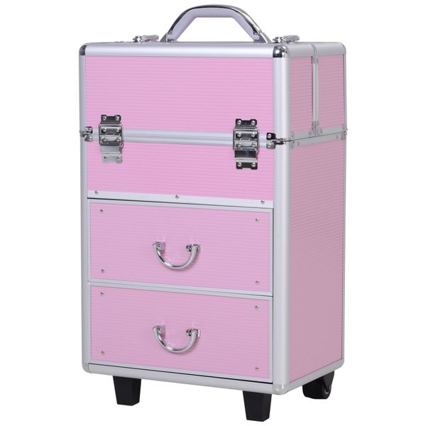 Soozier Large Makeup Train Case 4 Tier Cosmetic Rolling Case - Bubblegum Pink | aosom.com