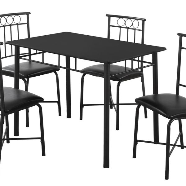 """Monarch 5 Piece 40"""" Rectangular Metal Framed Table and Chairs Dining Set - Black   Aosom"""