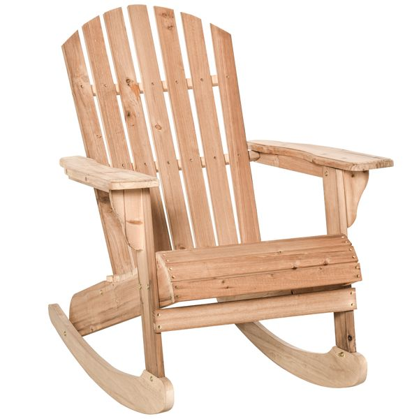 Outsunny Wooden Adirondack Rocking Chair with Slatted Wooden Design, Fanned Back, & Classic Rustic Style, Teak Outdoor Fir Large Back Style | Aosom