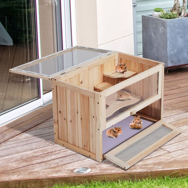 PawHut 2 Levels Wooden Hamster Cage Rabbit Guinea Pig Chinchilla Small Animals House w/ Openable Roof & Run Habitat | Aosom