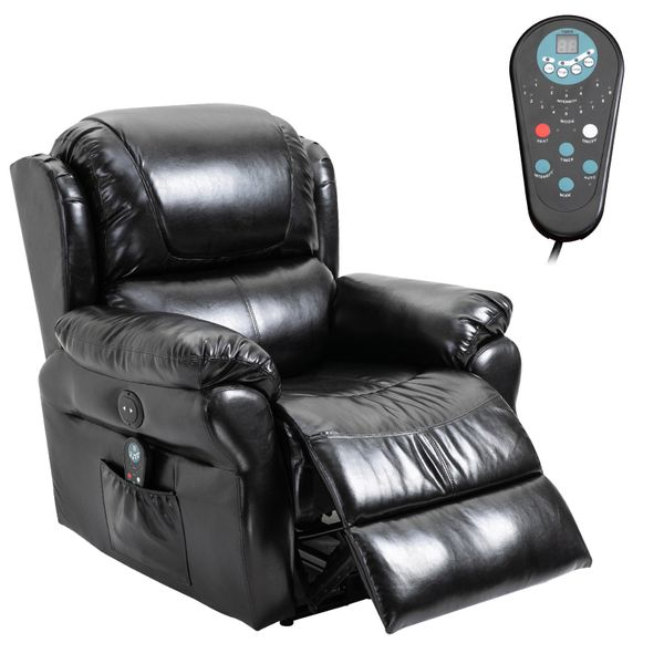 HOMCOM Power Massage Recliner Chair with Heat and Remote Control, 8 Massaging Points, PU Leather - Black Heated Home Reclining Sofa Ergonomic Control   Aosom