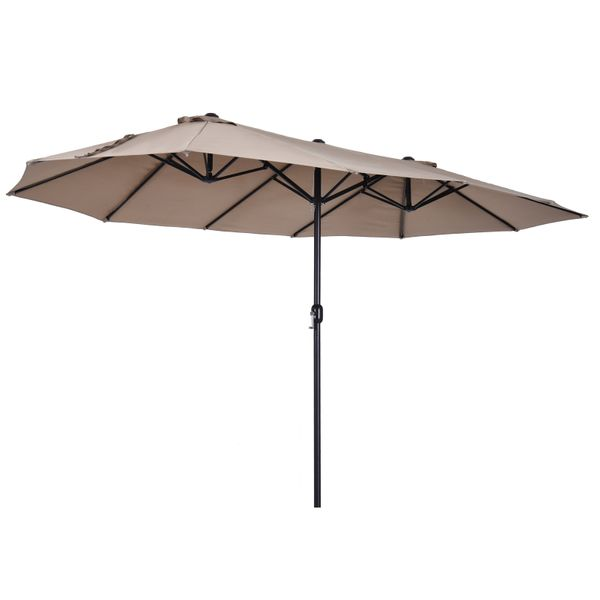 Outsunny 15' Steel Rectangular Outdoor Double Sided Market Patio Umbrella - Tan | Aosom