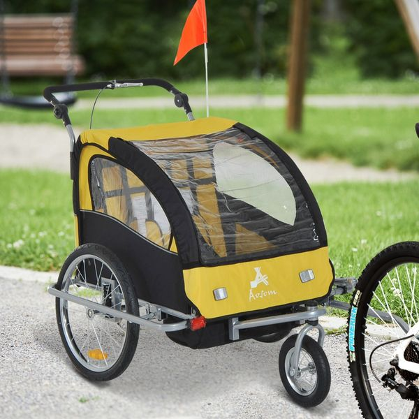Aosom 2 in1 Double Child Bike Trailer and Stroller (Yellow) / Elite 3-in-1 Trailer- Yellow/ Black Baby Bicycle Jogger Child-safe bike trailer | Aosom