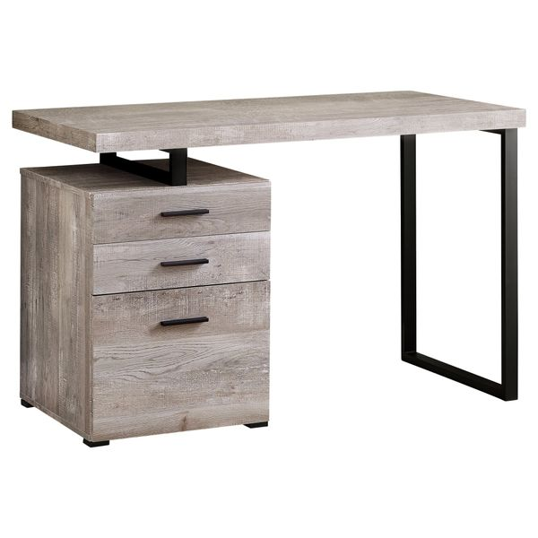 "Monarch 48"" Contemporary 3 Drawer Reclaimed Wood-look Office Computer Desk - Taupe 
