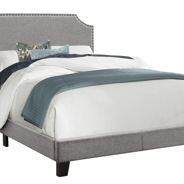 Monarch Full Size Contemporary Upholstered Bed Frame with Cutout Headboard, Chrome Nail Head Trim and Wood Legs - Grey Linen Look | Aosom