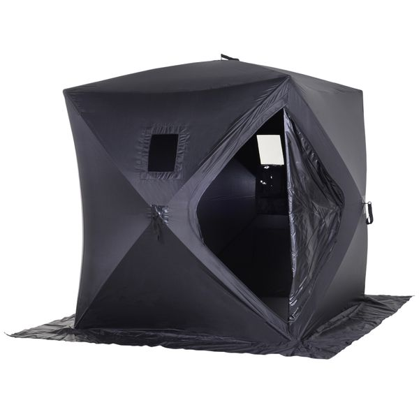 Outsunny 2 Person Pop Up Clam Ice Fishing Tent Portable Insulated Shelter - Black|AOSOM.COM