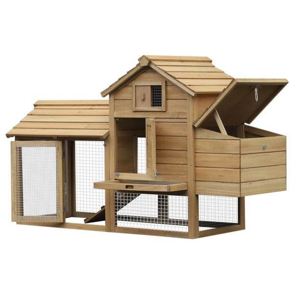 PawHut Solid Wood Enclosed Outdoor Backyard Chicken Coop Kit with Nesting Box|AOSOM.COM