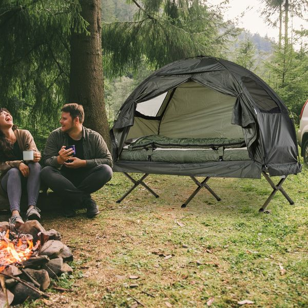 Outsunny Single Person Camping Cot Tent with Sleeping Bag, Air Mattress, and Storage Bag   Aosom
