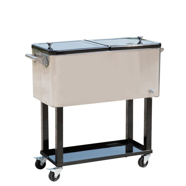 Outsunny 80 QT Rolling Ice Chest Portable Patio Party Drink Cooler Cart|AOSOM.COM