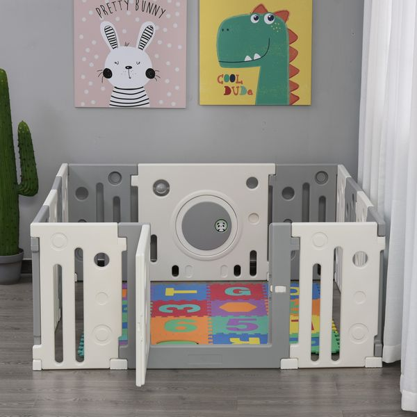 Qaba 14-Piece Children Baby Playpen Kids Activity Center Fence for Kids with Easy Safety Gate & Built-In Fun Toys - Grey Indoor Multi-Piece Play w/ Built-in | Aosom