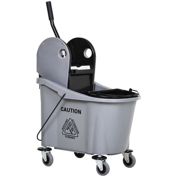 HomCom 9.5 Gallon Mop Bucket with Wringer Cleaning Cart 4 Moving Wheels 2 Separate Buckets & Mop-Handle Holder Black Large 2-Bucket Mopping w/ Handle Easy Castors | Aosom