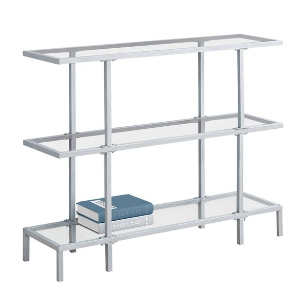 """Monarch 42"""" Contemporary Tempered Glass Top 3-Tier Metal Framed Accent Console Table - Silver Finish 