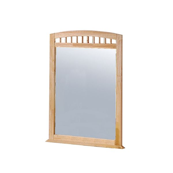 """Monarch 38"""" x 30"""" Rectangular Flat Wood Framed Shaker Styled Accent Mirror with Curved Top - Natural Wood Tone   Aosom"""