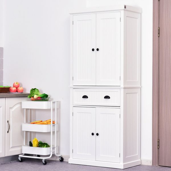 "Homcom Tall 72"" Traditional Colonial Style Standing Kitchen Pantry Cupboard Cabinet - White 
