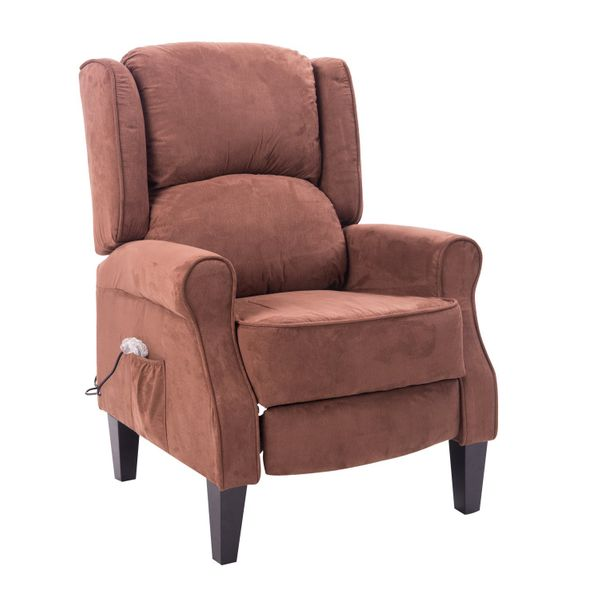 HomCom Artificial Suede Heated Back Massage Recliner Chair - Brown | Aosom