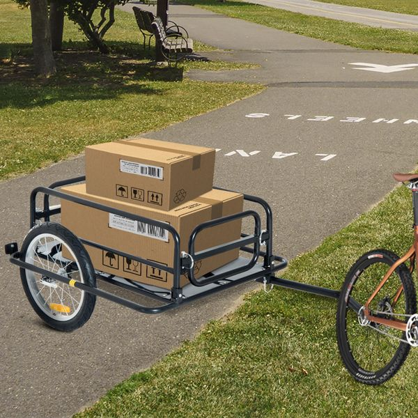 Aosom 110lbs Cycle Utility Trailer All-terrain Folding Bicycle Storage Cart with Hitch for Pavement,Gravel,Grass,Sand,Mud,Hills | Aosom.com