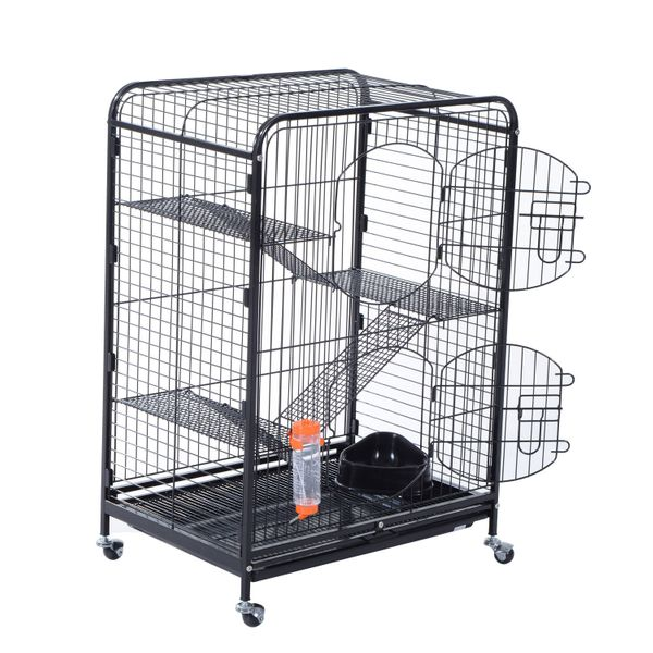"Pawhut 37"" 4 Level Indoor Hutch Small Animal Cage - Black / Portable Pet Habitat 4 level small animal cage w/ Feeder 