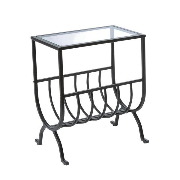 """Monarch 23"""" Contemporary Metal Frame Tempered Glass Top Side Accent End Table with Magazine Rack - Stardust Brown Finish   Aosom"""