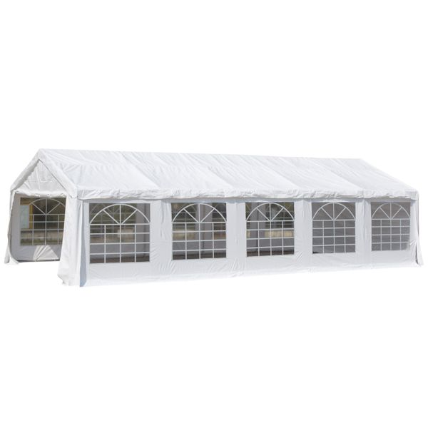 Outsunny 33'x20' Outdoor White Heavy Duty Carport Party Tent Garage Canopy | Aosom