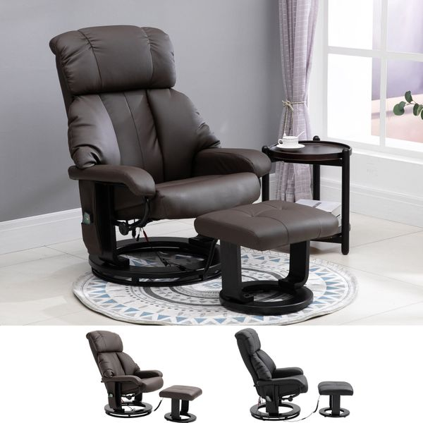 Massage Recliner Chair with Heat and Ottoman with Leather-Wrapped Base | Aosom