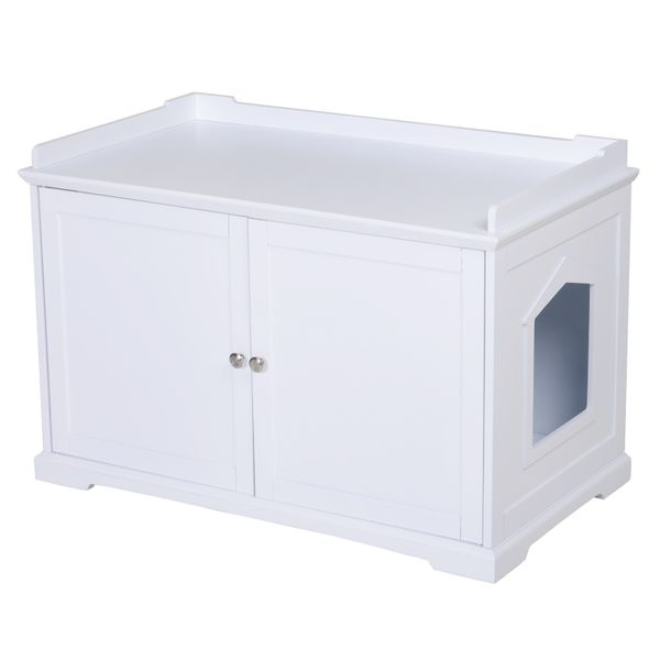 PawHut Wooden Covered Cat Litter Box End Table Hideaway With Storage Cabinet - White / wooden covered cat litter hideaway | Aosom