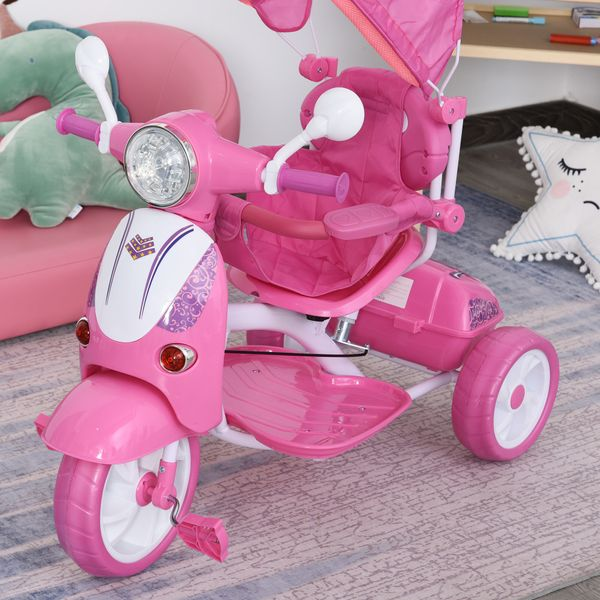 Qaba Children Tricycle for 3-8 Years Old kids 3 Wheel Removable Motorcycle Foldable Toddler Bike with Sunshade Music Lightening Battery powered Bike Pink LED | Aosom