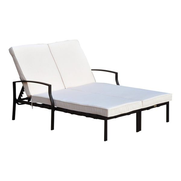 Outsunny Modern Adjustable Outdoor Patio Double Chaise Lounge Chair - CreamBlack  double lounge chair with cushions|Aosom.com