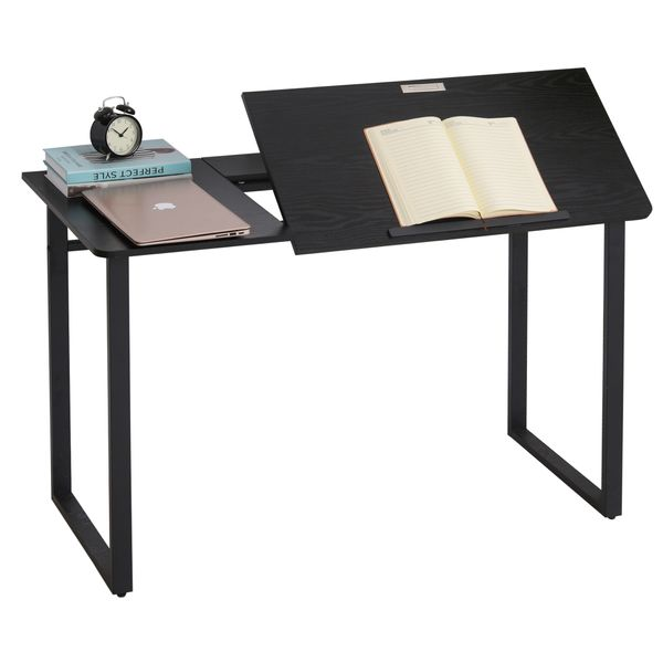 HOMCOM Computer Desk Writing Table with Small Angle Adjustable Tabletop for Drawing Home Office Workstation Black Wood Grain | Aosom