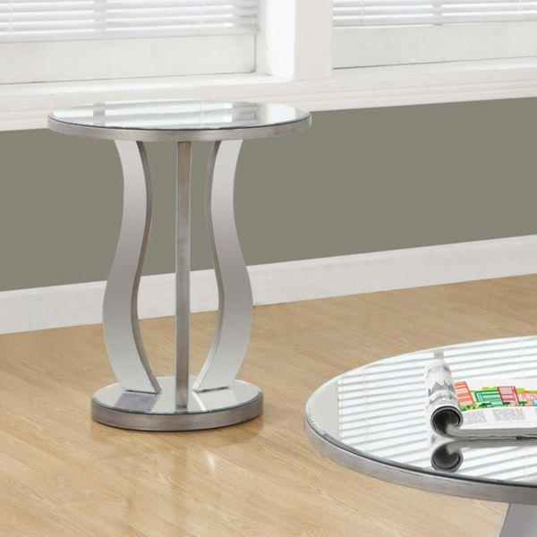 """Monarch 20"""" Modern Contemporary Mirrored Round Top Accent End Table - Brushed Silver   Aosom"""