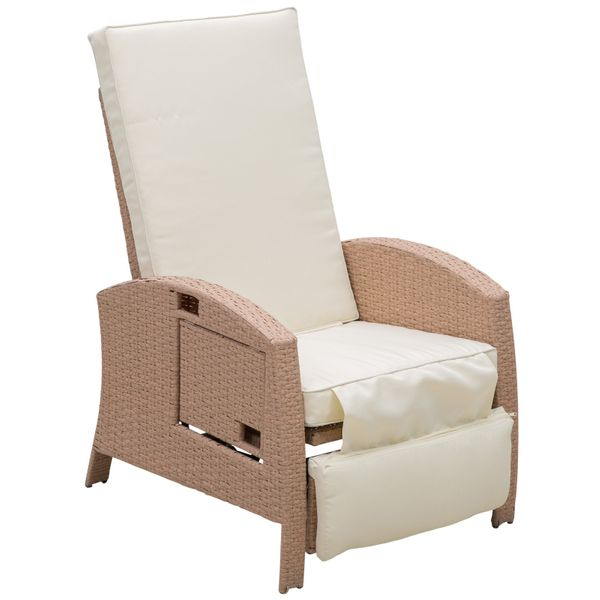 Outsunny Outdoor Rattan Wicker Adjustable Recliner Lounge Reclining Deck Chair - Beige and Gray | Aosom.com