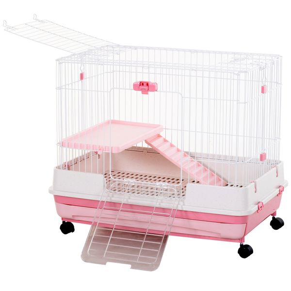 "PawHut 32"" Indoor Rabbit Cage Small Animal House Habitat with Wheels Pink 