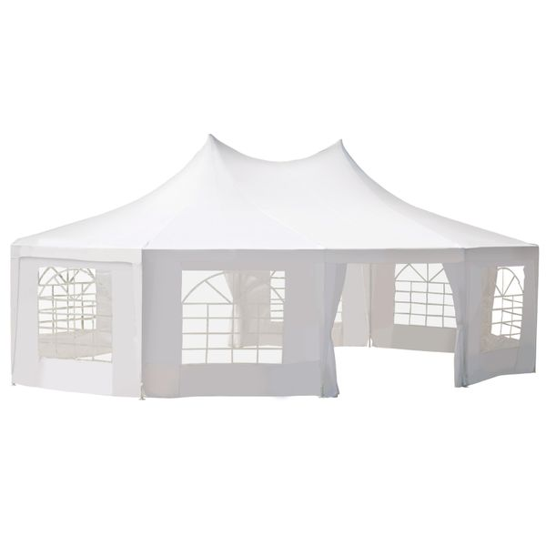 Outsunny Large Decagon 10-Wall Gazebo Canopy Tent Outdoor 29'x21' White Decagonal Canopy Tent For Patio Wedding Party | Aosom