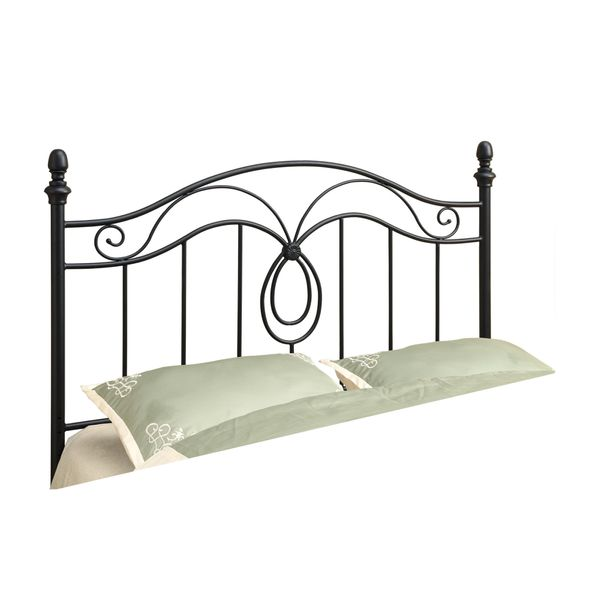 """Monarch 60"""" Arched Scroll Vertical Slat Black Finish Metal Motif Headboard - Fits Full or Queen Size Bed Frame   Aosom"""