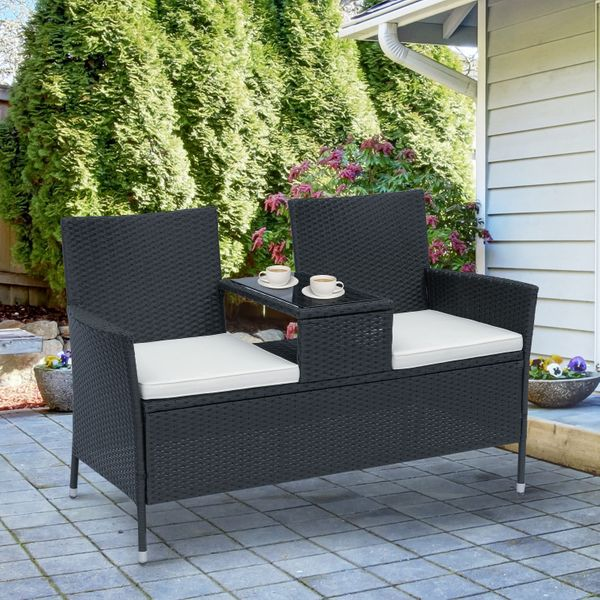 Outsunny 2 Seat Rattan Wicker Chair Bench with Tea Table Padded Seat- Black|AOSOM.COM