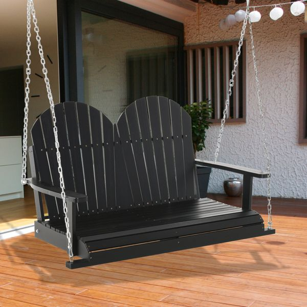 Outsunny Patio Swing Bench 2-Person Outdoor Wooden Swing Chair With Solid Wood Design, Southern Style, & Chains Included, Black Outside 2 Seater Wooden Swinging W/ Steel For Patio Or Porch | Aosom