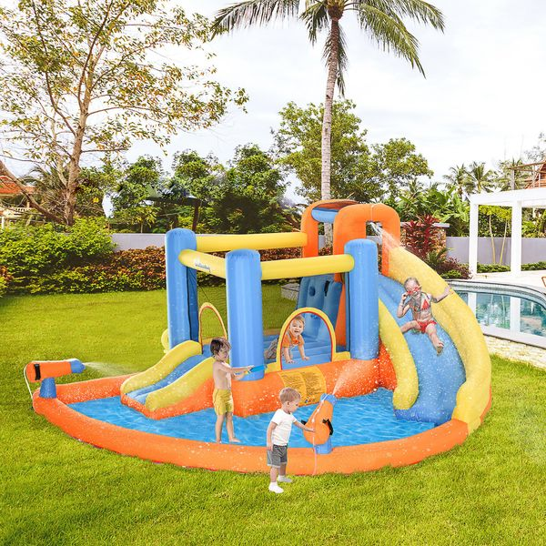 Outsunny Kids Bounce Castle House Inflatable Trampoline Slide Water Pool Gun Climbing Wall 5 in 1 with Inflator for Kids Age 3-12 Summer 14' x 12' x 6' Multi-color fot design w/ | Aosom