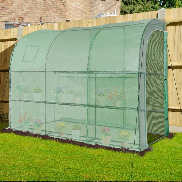 Outsunny 10' x 5' x 7' Outdoor Walk-In Tunnel Gardening Greenhouse with Windows and Doors & 2 Tiered 6 Wire Shelves Large Plant Green/Hot House w/ Ventilation Zippered   Aosom