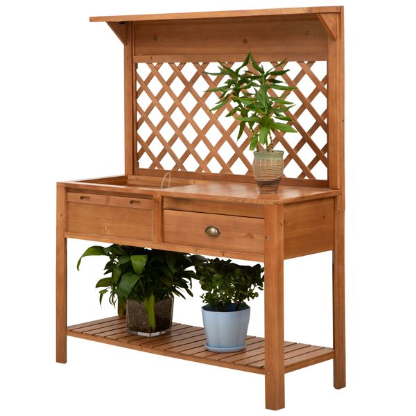 Outsunny 47'' x 17'' x 59'' Wooden Garden Potting Table with Shelf Drawer Plant Work Bench Workstation Outdoor  Nature Wood Color w/ and | Aosom