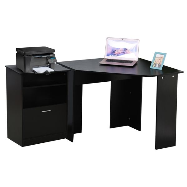 HOMCOM Computer Desk W/ Printer Cabinet L-Shaped Wood