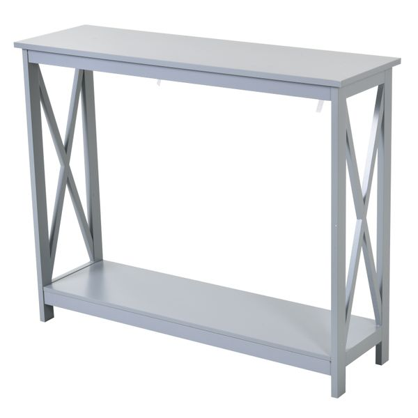 Homcom 2 Tier Bench Sofa Console Table With Underneath Storage Shelf For The Entryway Living Room Hallway Grey W Tables Aosom - Sofa Table With Stools Underneath