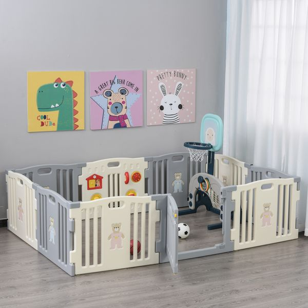 Qaba 10-Piece Children Baby Playpen Kids Activity Center Fence for Kids with Easy Safety Gate & Flexible Design  White 10-pcs Pen Babies/Kids w/ a Space | Aosom