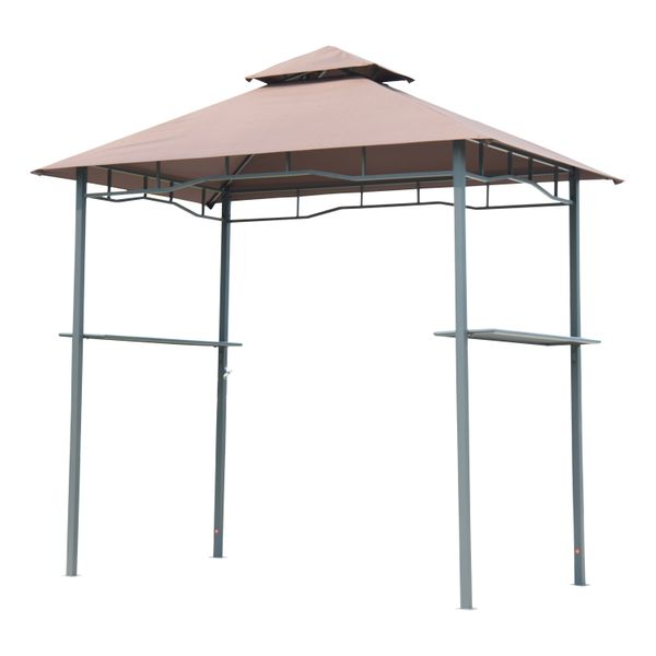 "Outsunny Outdoor Patio 8"" Double-tier BBQ Grill Canopy Tent with Table Surface 