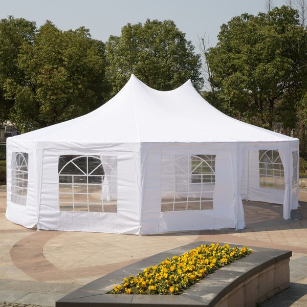 Outsunny Large Decagon 10-Wall Gazebo Canopy Tent Outdoor 29'x21' White Decagonal Canopy Tent For Patio Wedding Party|aosom.com