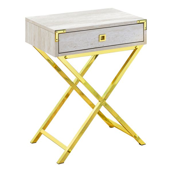 "Monarch 24"" Contemporary Accent Side End Table with Large Storage Drawer and Metal X-Design Legs - Beige Marble-Look / Gold Metal Legs 