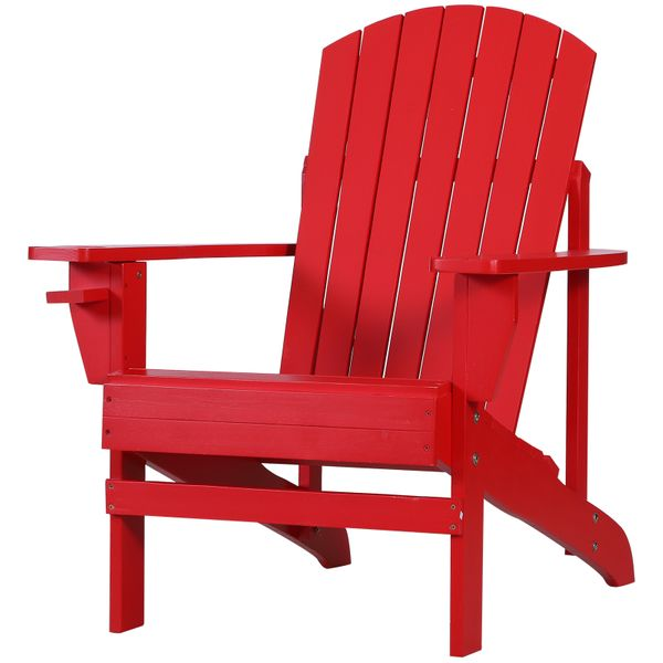 Outsunny Outdoor Classic Wooden Adirondack Deck Lounge Chair with Ergonomic Design & a Built-In Cup Holder Red Ergonomics | Aosom