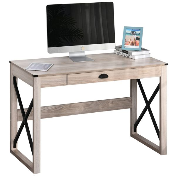HOMCOM Industrial Retro Style Wooden Modern X-Frame Particleboard Study Desk w/1 Drawer Home Office Desk Oak Function Desks Wood and Metal X Cross Frame Writing Gaming Studio Series Classic Living Room | Aosom
