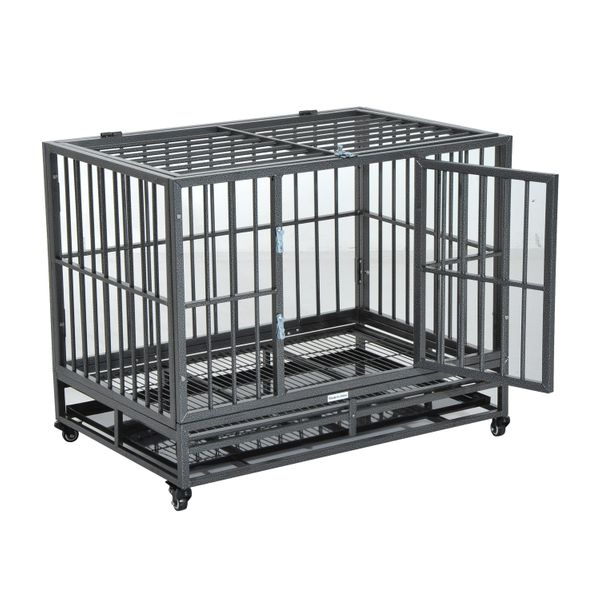"""PawHut 36"""" Stainless Steel Elevated Indestructible Dog Kennel Rolling Pet Crate With Dual Pans